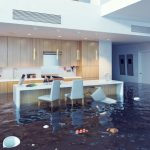 flooded kitchen with items floating in water