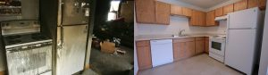 Fire damage before and after commercial reconstruction page