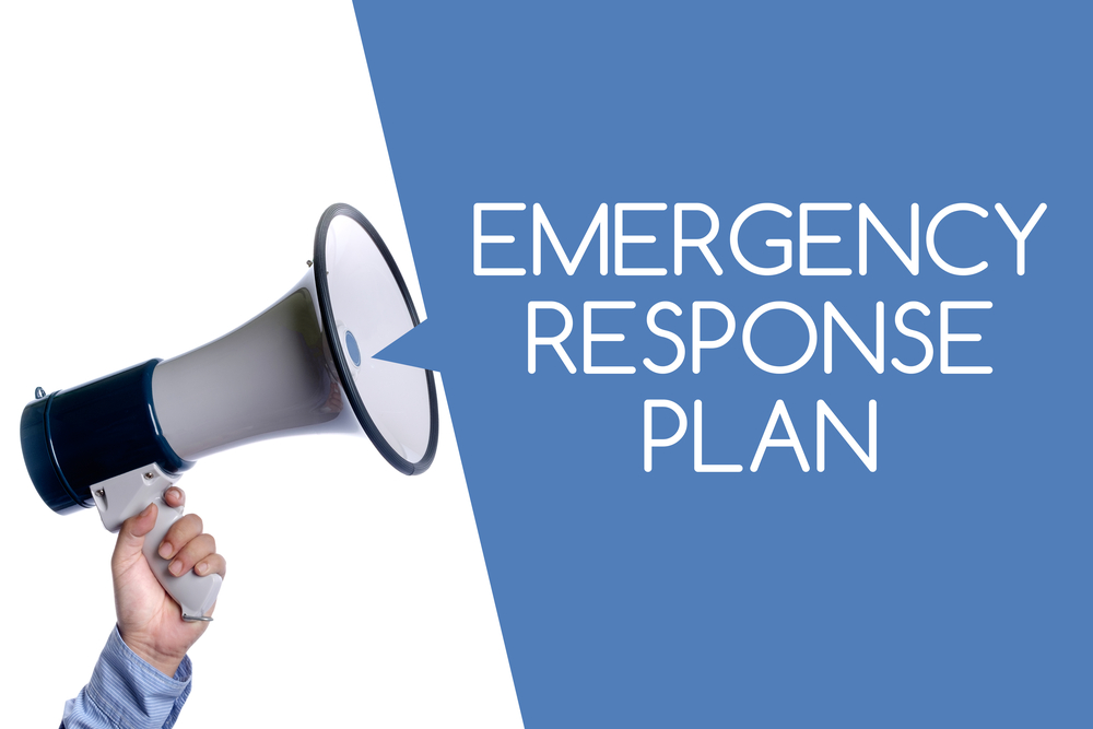 megaphone with words emergency response plan